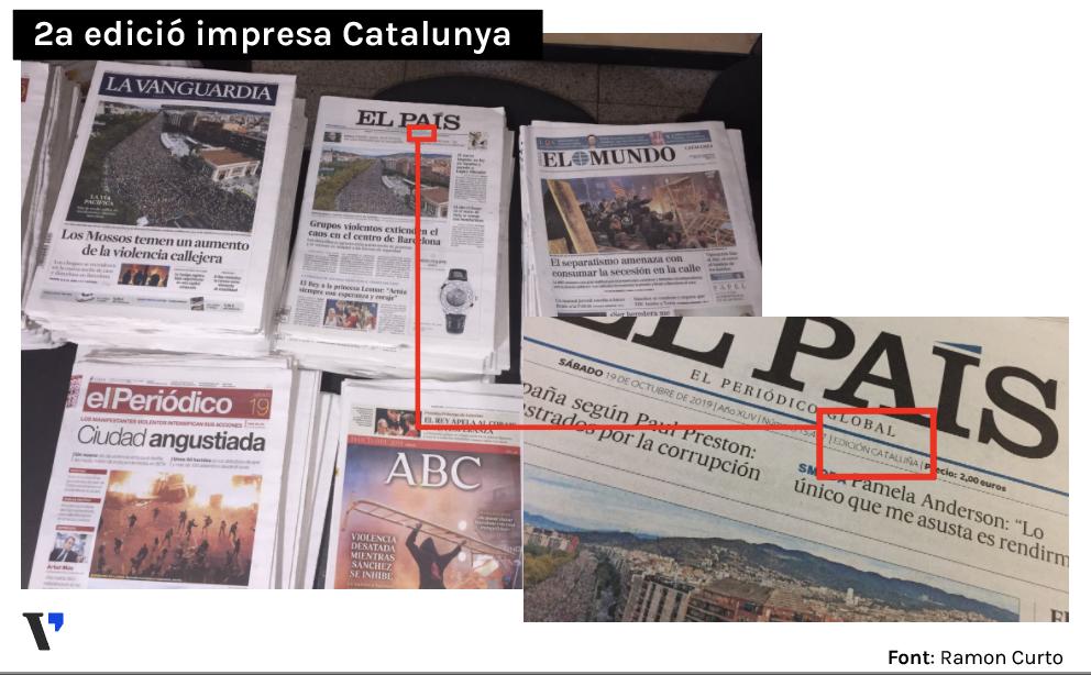 La portada d'El País de la vaga del 18-O va ser la mateixa a Madrid i Catalunya