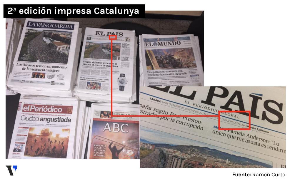 Foto cedida per Ramon Curto, infografista de El Periódico de Catalunya, amb els diaris que arriben a la redacció