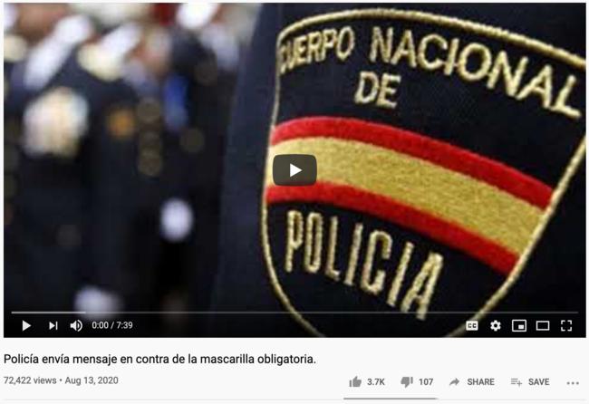 Tres falsedats sobre la Covid-19 d'un suposat policia a Youtube