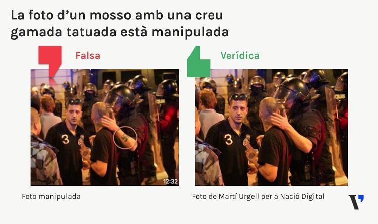 Aquesta foto viral d'un mosso a plaça Artós ha estat manipulada per posar-li una creu gamada al braç