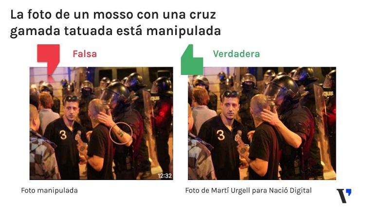 Esta foto viral de un mosso en plaça Artós ha sido manipulada para ponerle una cruz gamada en el brazo