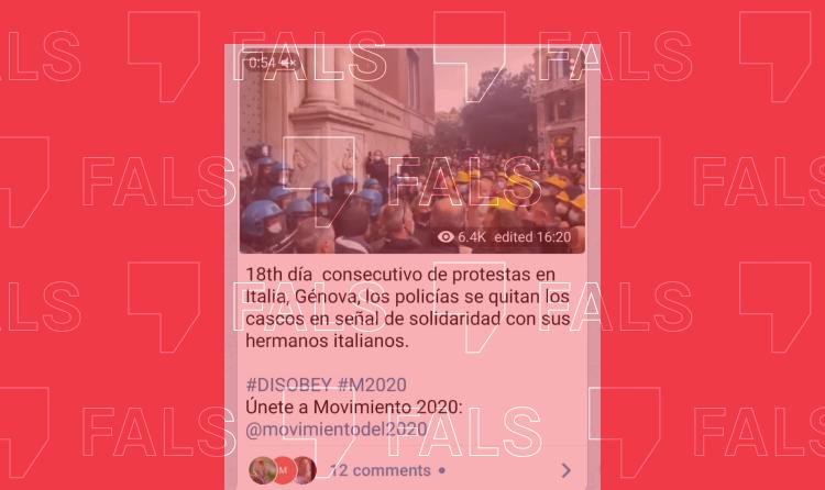 La protesta d'uns obrers a Gènova no té res a veure amb el confinament per la Covid-19