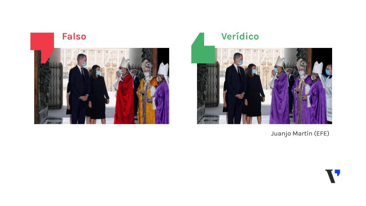 La foto de los eclesiásticos recibiendo a los reyes con túnicas de los colores republicanos es un montaje