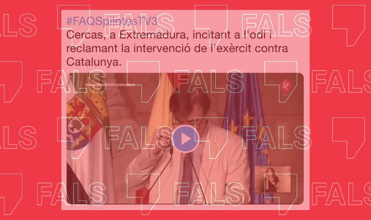 Javier Cercas no ha demanat la intervenció militar de Catalunya