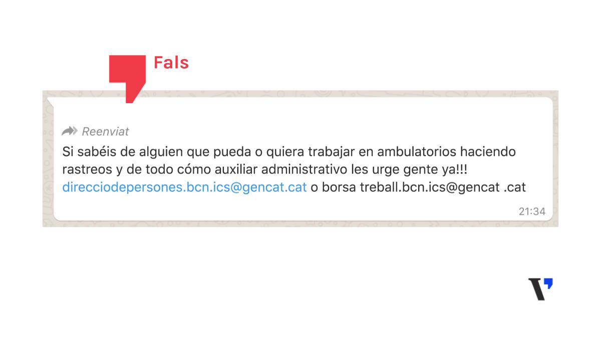 L'Institut Català de la Salut no ha enviat cap missatge demanant rastrejadors