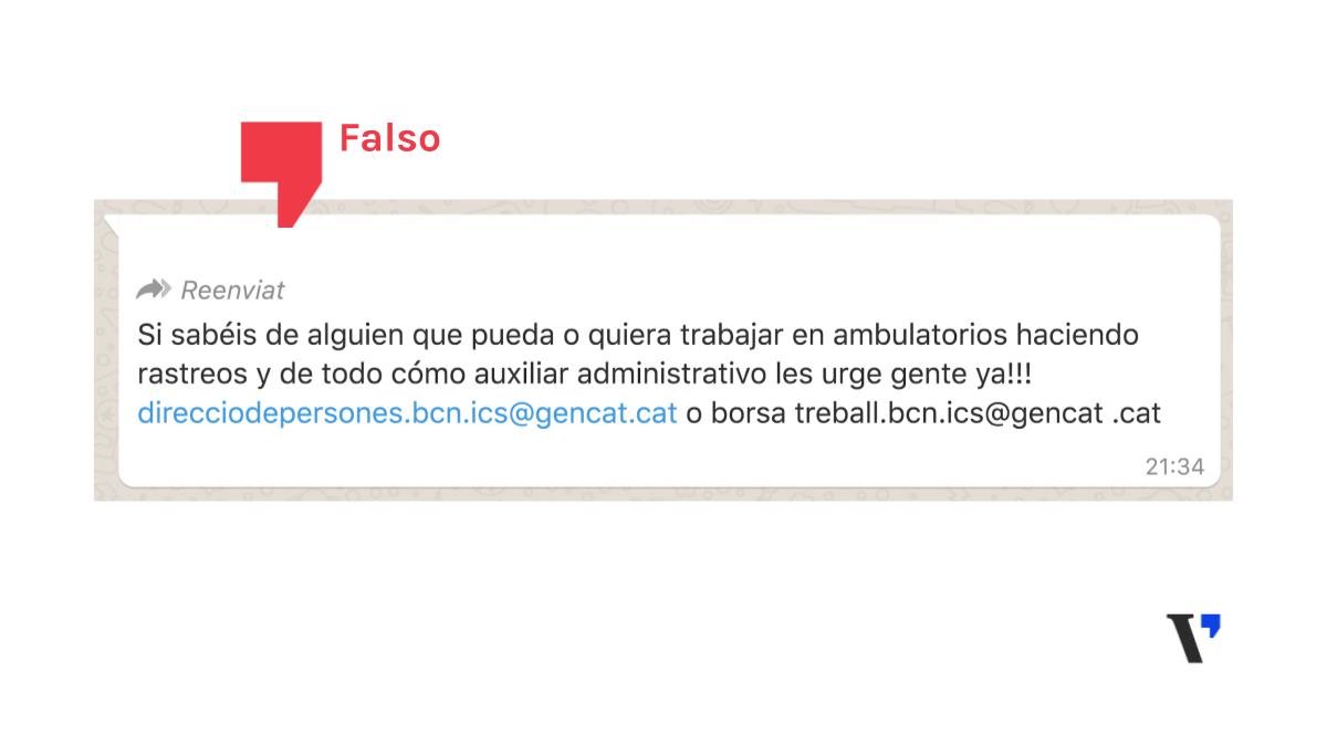 El Institut Català de la Salut no ha mandado ningún mensaje para contratar rastreadores