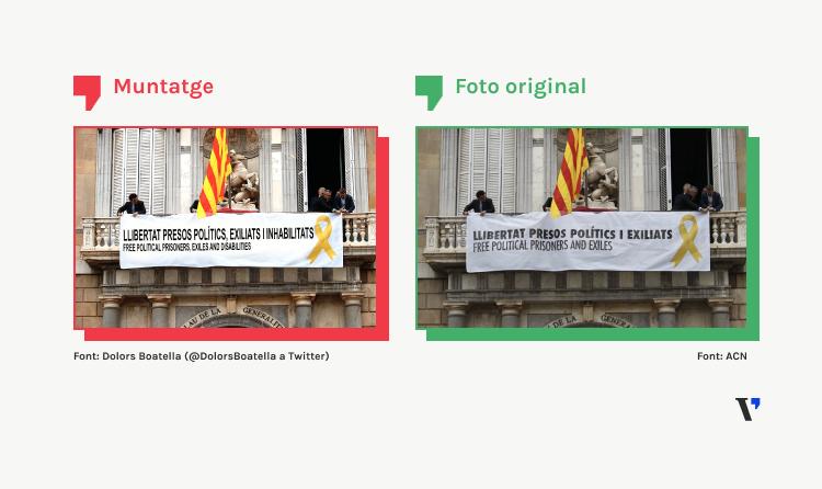 """La foto de la pancarta pels """"presos polítics, exiliats i inhabilitats"""" és un mem satíric"""
