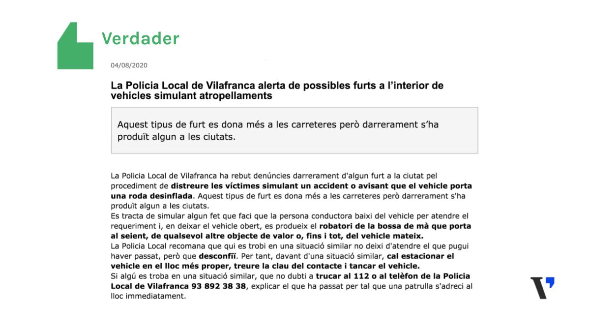 És veritat que a Vilafranca es va produir un robatori simulant un accident