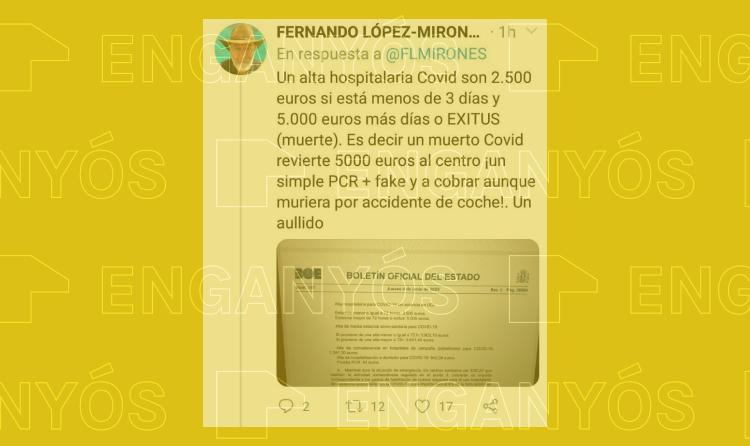 Es engañoso que los hospitales cobren más por un paciente ingresado con Covid-19 que por accidente de tráfico