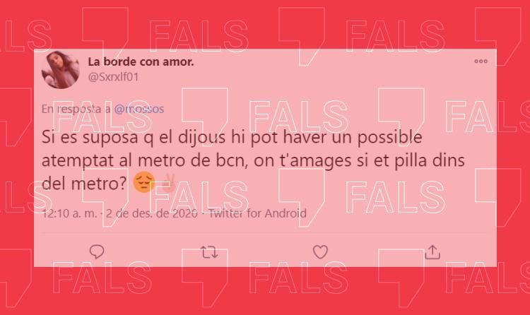 El missatge que alerta d'un atemptat imminent al metro de Barcelona és un audio cíclic sense cap prova
