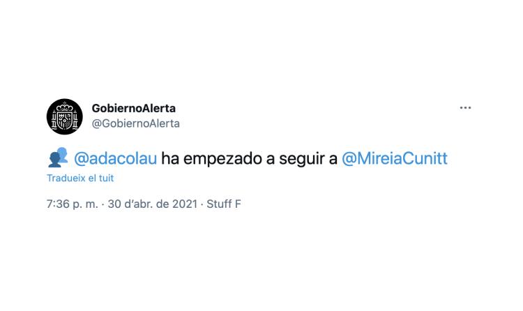 Així funciona GobiernoAlerta en registrar activitat d'un usuari que com Ada Colau hauria deixat Twitter
