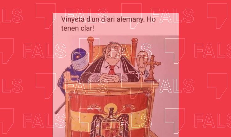 La viñeta satírica donde aparece un juez con una bandera franquista no es de un diario alemán