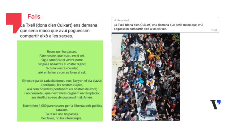 Falso: Txell Bonet, pareja de Jordi Cuixart, no ha pedido compartir ni un padrenuestro ni esta foto