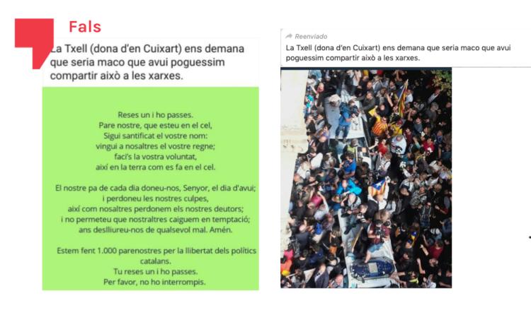 Fals: Txell Bonet, parella de Jordi Cuixart, no ha demanat compartir ni un parenostre ni aquesta foto