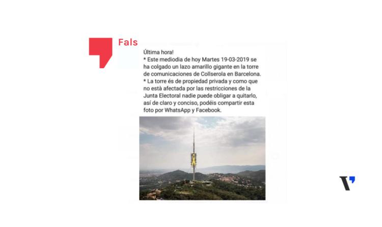 Falso: No han colgado un lazo amarillo en la Torre de Collserola