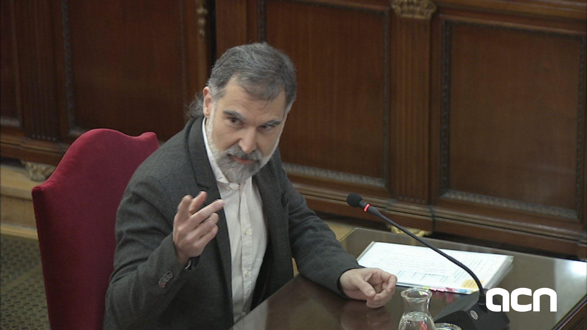 Jordi Cuixart declarando en juicio del 1-O en Tribunal Supremo el 26 de febrero del 2019 / ACN