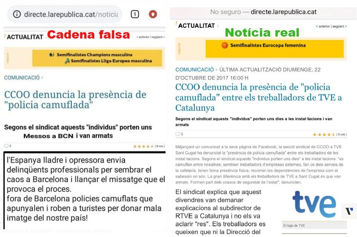 Busca les 4 diferències entre aquesta cadena falsa de WhatsApp sobre la inseguretat a Barcelona i la notícia real