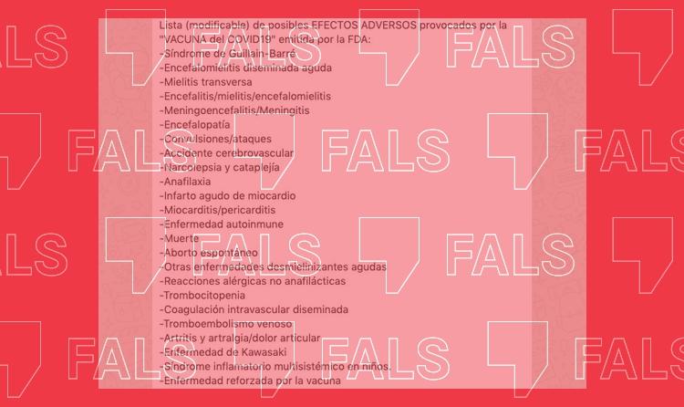 Esta lista de 24 supuestos efectos secundarios graves de las vacunas es falsa