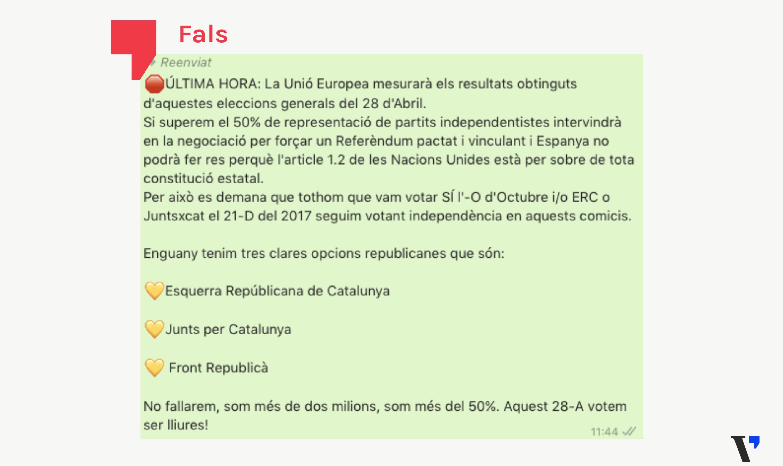 La UE no forçarà un referèndum a Catalunya si l'independentisme guanya les eleccions generals