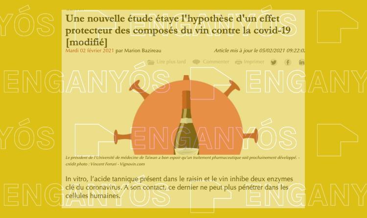 No està demostrat que el vi o els tanins siguin beneficiosos per prevenir la covid-19