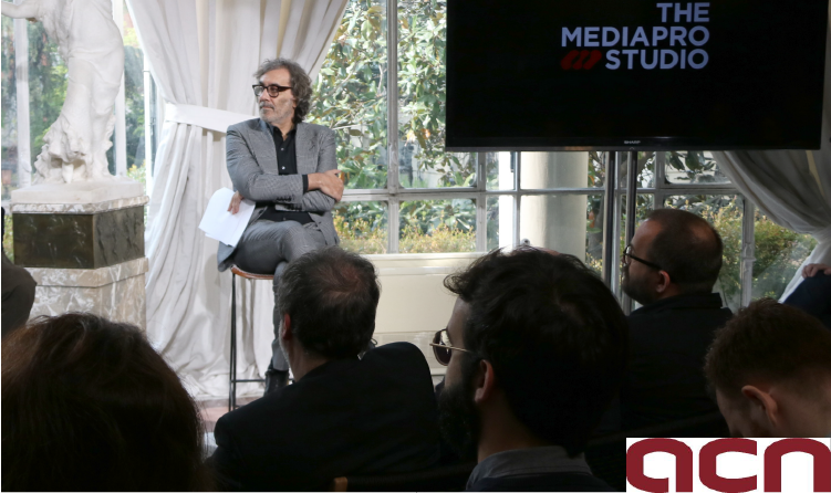 El soci de Mediapro Tatxo Benet durant la presentació de 'The Mediapro Studio' a Madrid, el 2 d'abril de 2019. (ACN)