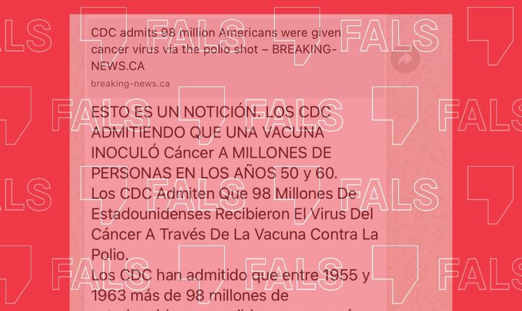 És fals que 98 milions de nord-americans contraguessin càncer a través de la vacuna de la polio